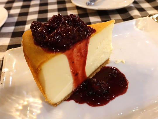 N.Y. cheesecake with blackberry compote at The Sicilian
