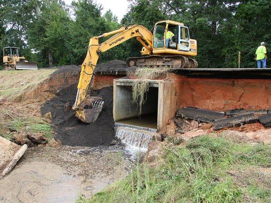 Mississippi Department of Transportation crews work