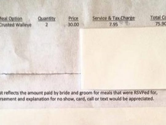 The wedding bill for the Herb Crusted Walleye for two came to $75.09, including tax and service.