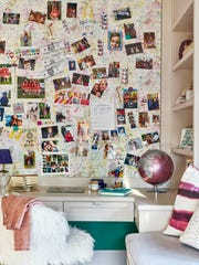 The bulletin board in the bedroom is one of the designers favorite elements of the space.