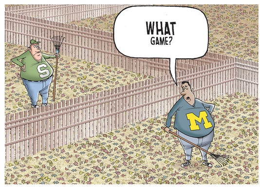 Michigan vs. Michigan St. cartoon caption contest winner