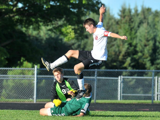 Wisconsin Valley Conference boys soccer game between East and Everest Tuesday, August 26, 2014, at Wausau East High School soccer field.
