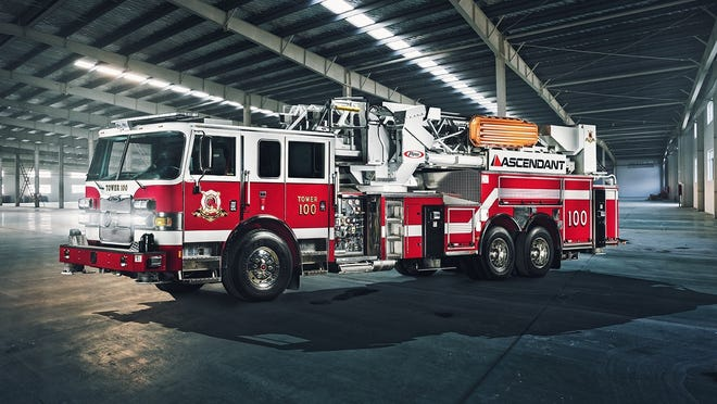 The new tower truck will be similar to this Heavy-Duty Aerial Tower provided by Pierce Manufacturing.