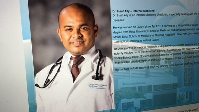 Dr. Insaf Ally, as shown on the Guam Regional Medical City website.
