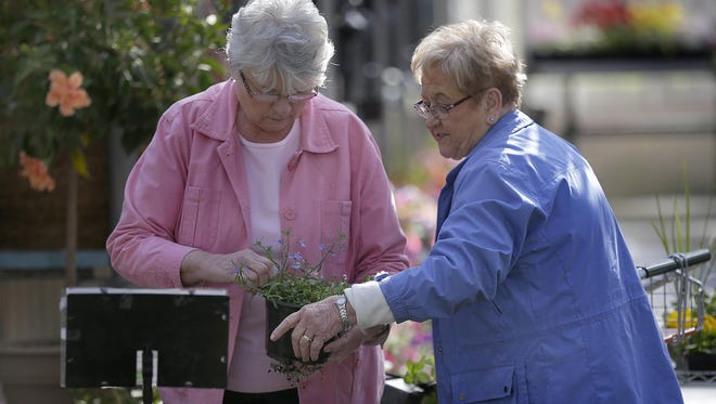 Carol Van Zeeland, left, and Doloris Van Epern shop for plants last month at Robinson Florist and Greenhouses in Kimberly.