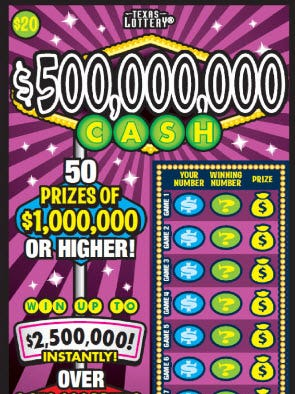 "A Beeville resident won $1 million on a Texas Lottery scratch-off game called ""500,000,000 Cash."""