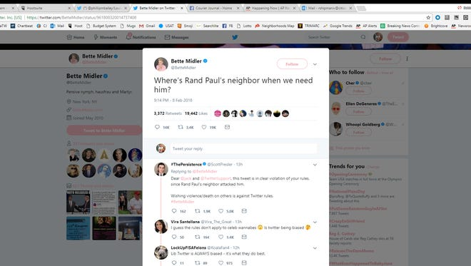 Actress Better Midler threw shade at Kentucky Sen. Rand Paul via Twitter Feb. 8, 2018.