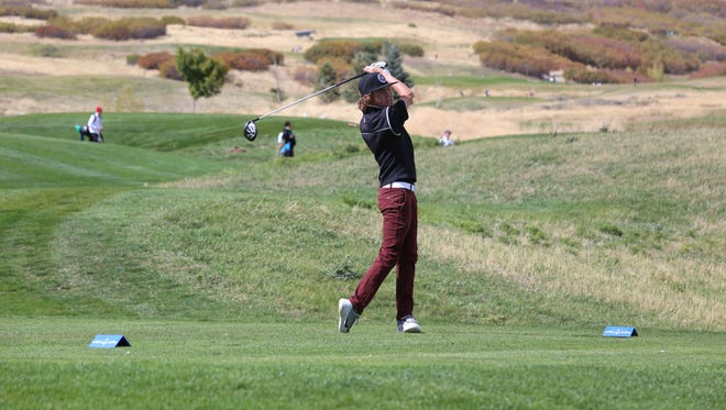 Desert Hills' Will Stewart hits off the tees during the 3A state tournament at Soldier Hollow on Thursday.