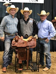 From left, Walt Harris, Ty Harris, and Cisco College rodeo coach Don Eddleman.