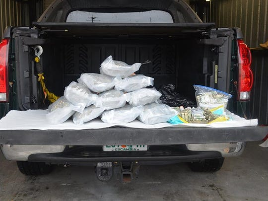 Deputies seized $42,000, 10 pounds of marijuana and made an arrest during a traffic stop near Medford Avenue on Sunday