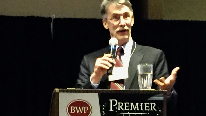 Patrick Barkey, director of the  Bureau of Business and Economic Research, talks Wednesday to the Montana Taxpayers Association.