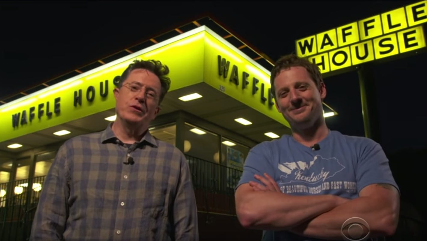 Stephen colbert sturgill simpson take over waffle house for Is waffle house open on thanksgiving