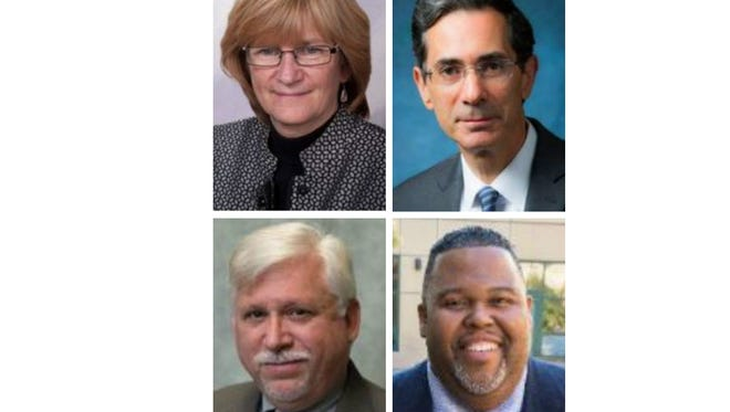 Candidates for Rockland Community College president: Clockwise from top left: Susan Deer, Eric Friedman, Michael Baston and Mark McCormack.
