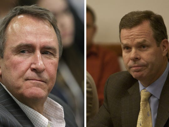 Mark Shurtleff (left) and John Swallow, the two most recent Utah attorneys general, face corruption-related charges in connection with their relationship with St. George businessman Jeremy Johnson. Former Chief Deputy Attorney General Kirk Torgensen has been fired, eight months after being placed on administrative leave.