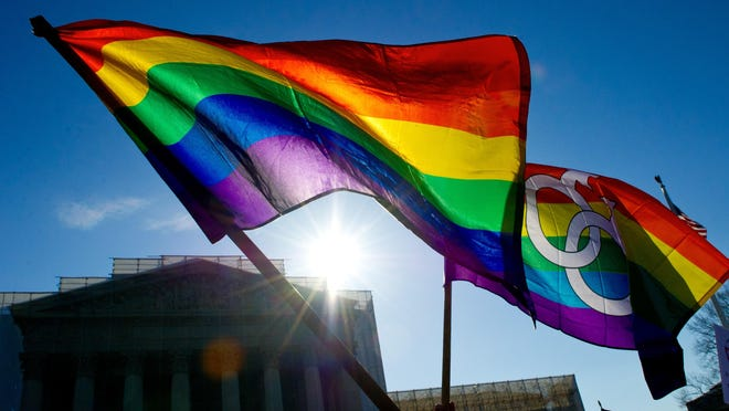 Gay pride flags at the Supreme Court in Washington in March 2013.