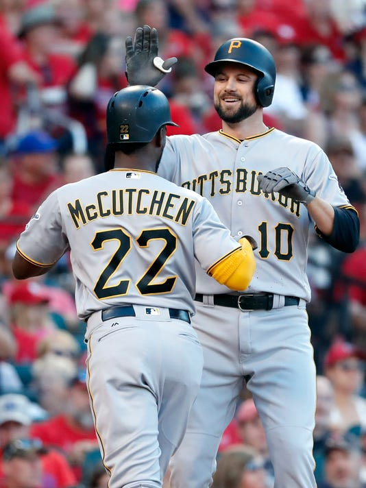 Pittsburgh Pirates' Jordy Mercer, right, is congratulated by teammate Andrew McCutchen (22) after hitting a two-run home run during the fourth inning of a baseball game against the St. Louis Cardinals, Saturday, June 24, 2017, in St. Louis. (AP Photo/Jeff Roberson)