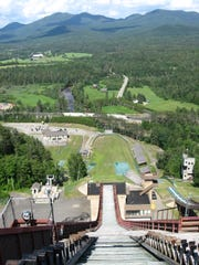The top of one of the ski jumping towers in Lake Placid.