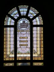 Fletcher Free Library's famous leaded glass window
