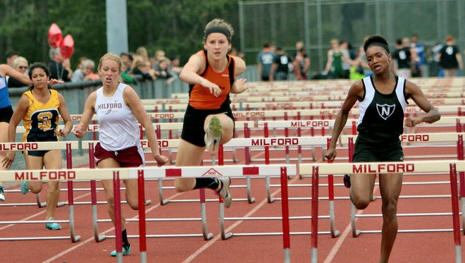 Brighton's Erin Dowd was a regional champion in both the 100- and 300-meter hurdles on Friday.