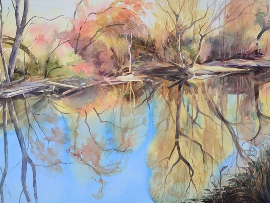 """Doris Ettlinger's """"Still Water"""" watercolor painting depicts an autumn view of the Musconetcong River. The Musconetcong Watercolor Group she leads is presenting an exhibit from Nov. 22 to 29 at the North County Branch of the Hunterdon County Library in Clinton."""