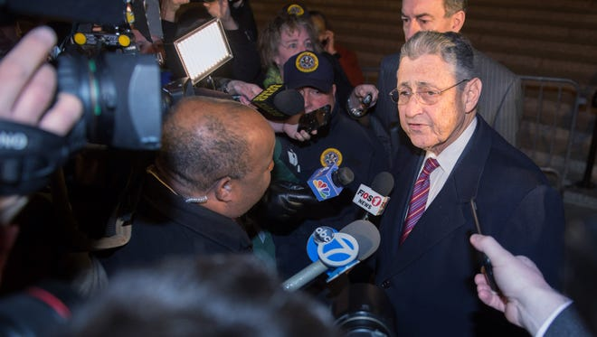 Former New York Assembly Speaker Sheldon Silver speaks as he exits Manhattan federal court following his conviction on corruption charges Monday.