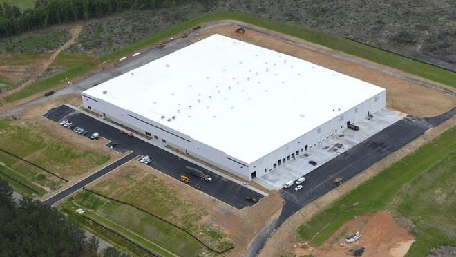 An aerial image shows the 208,000-square-foot former Hollander Sleep Products plant in Thomson, Ga., that has been purchased by Augusta-based United Medical Enterprises to expand its medical mask operation.