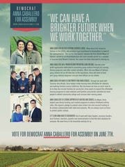 Assembly District 30 candidate Anna Caballero's campaign office sent out mailers earlier this week.