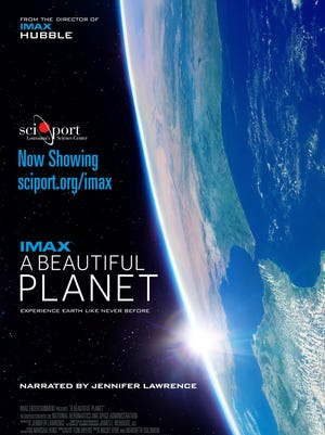 """""""A Beautiful Planet"""" narrated by Jennifer Lawrence is now showing at the IMAX Dome Theatre at Sci-Port in Shreveport."""
