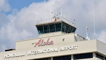General view of the Honolulu International Airport traffic control tower.