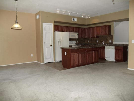Newer starter homes, such as this north Phoenix town home, have open floor plans.