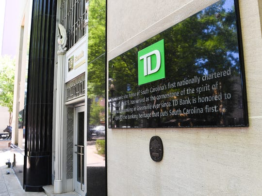 TD Bank at 102 S. Main St. in downtown Greenville Monday,