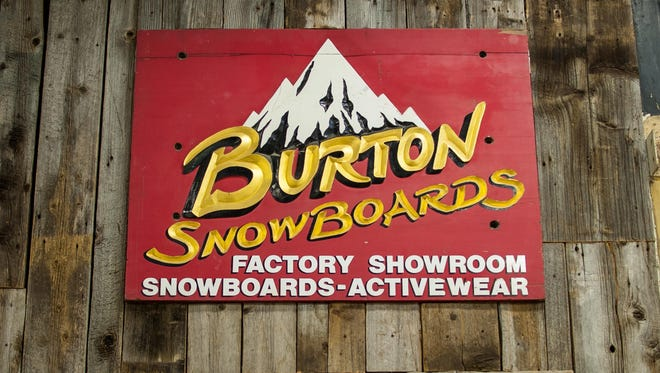 Burton snowboards' original sign on display at the company's headquarters in Burlington.