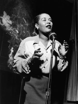 "Jazz singer Billie Holiday is shown in this 1949 photo. Holiday first recorded ""Strange Fruit"" in 1939."