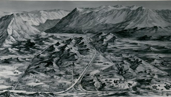 """An artist rendering of International Harvester Company's six and a half square mile Phoenix Proving Ground on the """"south slope of the Salt River Mountains,"""" company records describe, or today's Phoenix South Mountain Park Preserve."""