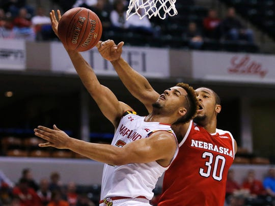 Nebraska's Ed Morrow (30) blocks a shot by Maryland's Melo Trimble (2) during the second half of an NCAA college basketball game at the Big Ten Conference tournament, March 11, 2016. Trimble and his teammates play in the NCAA Tournament against South Dakota State on Friday, March 18, 2016.