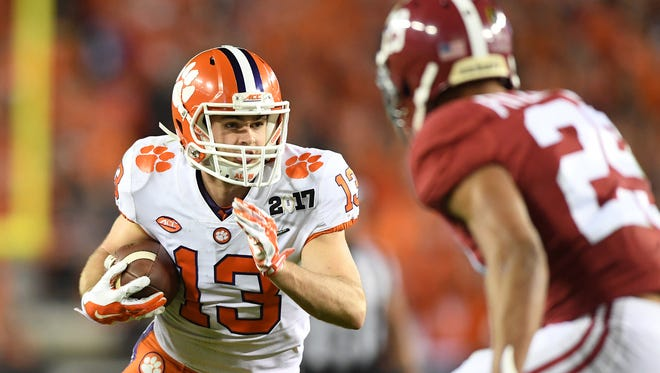 Clemson wide receiver Hunter Renfrow (13)  catches a touchdown against Alabama during the 3rd quarter of the National Championship at Raymond James Stadium in Tampa on Monday, January 9, 2017.