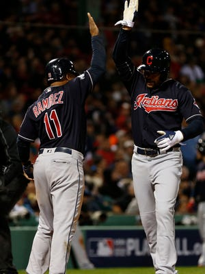 Coco Crisp is met by Jose Ramirez after his two run home run in the sixth inning.