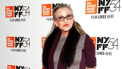 "FILE - In this Monday, Oct. 10, 2016, file photo, actress Carrie Fisher attends a special screening of, ""Bright Lights: Starring Carrie Fisher and Debbie Reynolds,"" at Alice Tully Hall in New York. The creators of Amazon's ""Catastrophe,"" which stars Fisher in one of her final roles, said news of her death Dec. 27, 2016, was ""utterly shocking."" ""We had no idea. I don't think she had any idea,"" said series star and co-creator Rob Delaney of possible warning signs or health concerns for the 60-year-old actress."