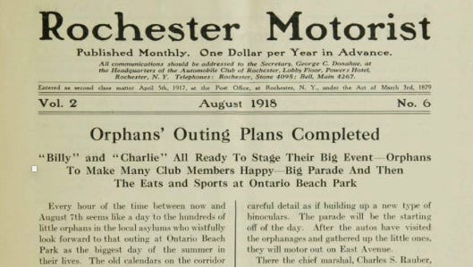 This screen shot shows the August 1918 edition of the Rochester Motorist, a Rochester Automobile Club monthly publication, noting the upcoming outing for orphans.