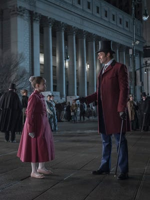 "Austyn Johnson of Elmira appears in a scene with Hugh Jackman in ""The Greatest Showman."""