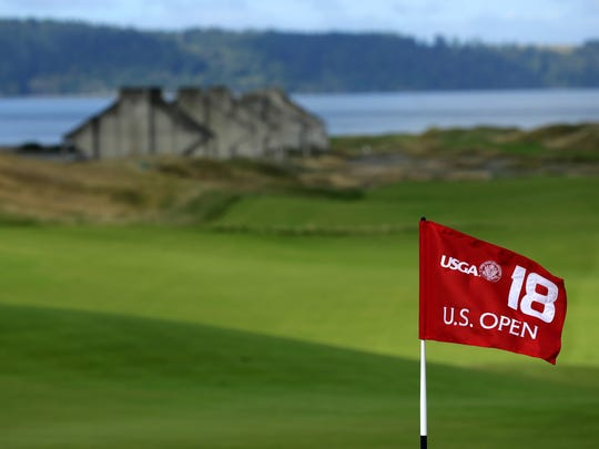 The 18th hole at Chambers Bay, host course for the 2015 U.S. Open Championship in University Place, Wash.