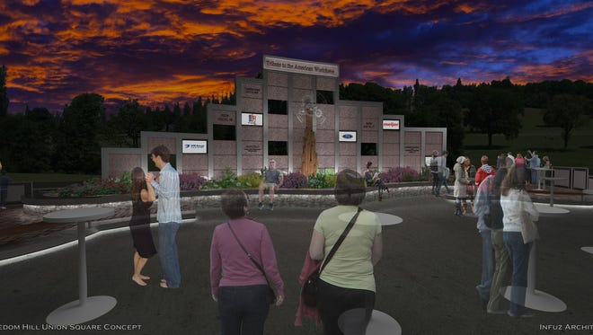 Rendering of a new monument honoring workers in Macomb County and statewideo to be unveiled in spring of 2016 at Freedom Hill in Sterling Heights.  courtesy Infuz Ltd.