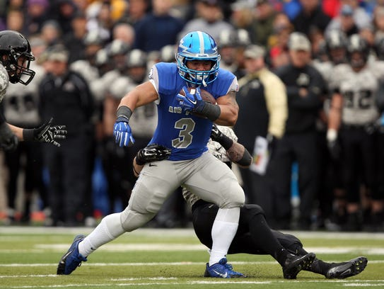 Air Force Falcons running back D.J. Johnson (3) is