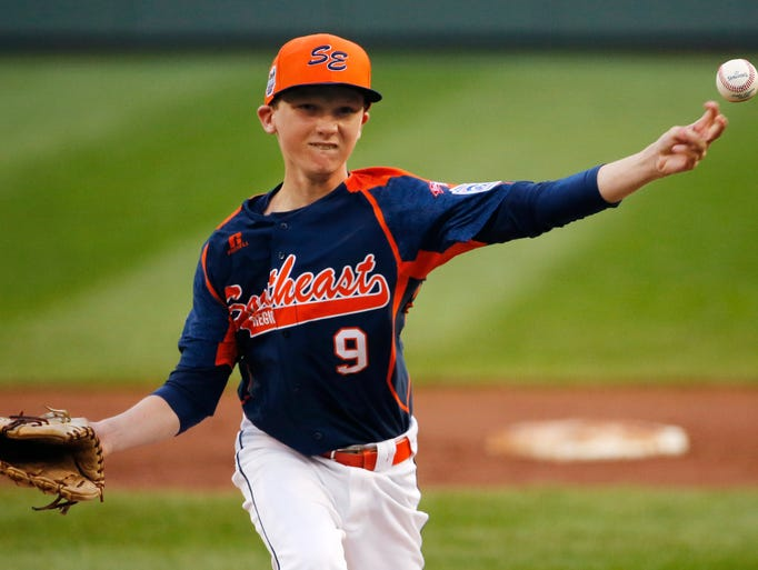 South Nashville pitcher Robert Hassell III delivers in the first inning of against Cumberland, R.I., at the Little League World Series in South Williamsport, Pa., on Saturday.