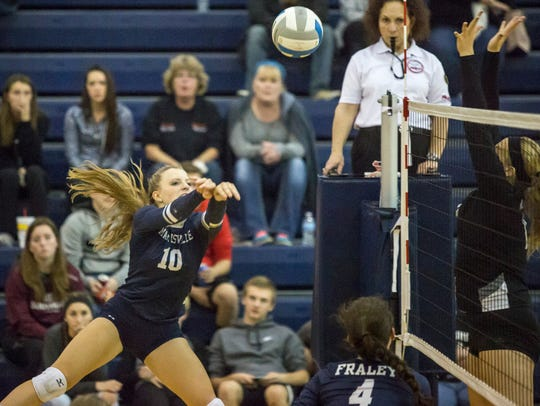 Marysville's Hannah Delor hits the ball during a Class