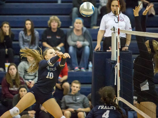 Marysville's Hannah Delor hits the ball during a Class B district semifinal volleyball game Thursday, Nov. 3, 2016, at Marysville High School.