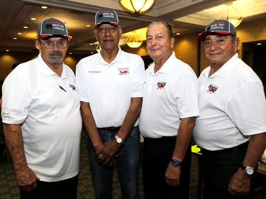 """Frank Maldonado, left to right, Tony Rodriguez, Luis Juarez and Isaac """"Ike"""" Camacho participated in the 5th Annual Moye's Boys Golf Tournament to benefit the Moye's Boys Foundation. The event took place at  the Fort Bliss Underwood Golf Complex."""