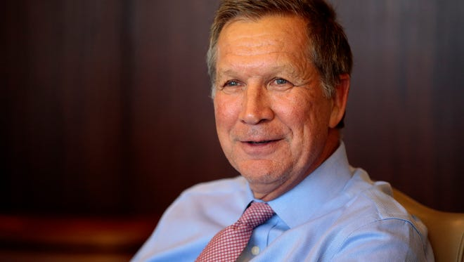 Ohio Gov. John Kasich speaks with the Enquirer editorial board at the Cincinnati Enquirer building in downtown Cincinnati on Monday, April 10, 2017.