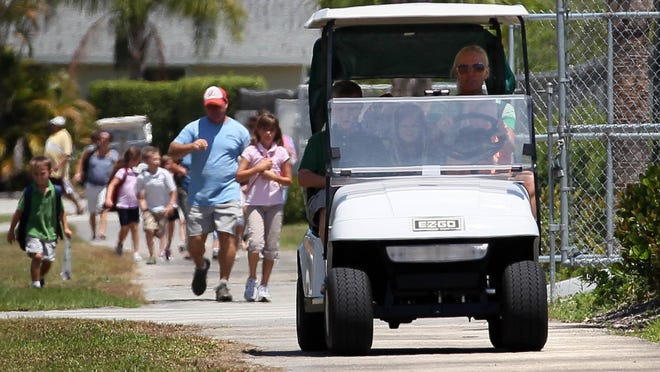 While equestrians were among the first to use golf carts to get around Wellington, golf cart use has grown more popular in recent years as parents look for ways to get children to school.