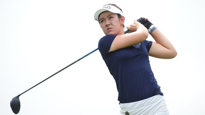 Jul 9, 2015: Hannah O'Sullivan tees off on the fourth during the first round of the U.S. Women's Open at Lancaster Country Club.